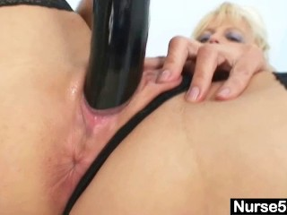Old Blonde MILF Stuffing Pussy With Big Dildo