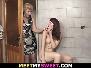 Old Couple And Teen Fucking In The Bathroom