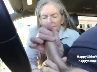 Grandma Sucks In The Car. Amateur Older