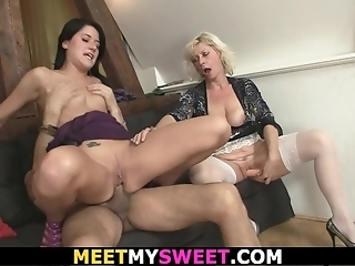 She Is Lured Into Threesome Sex By His Olds
