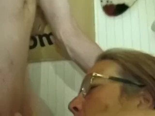 Old, Grandma With Glasses Has Sex With A Young Man.