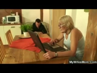 Old, Blonde Granny Gets Caught Watching Porn, So She Gets Fucked.