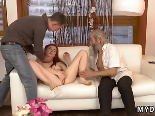 Old Granny Vanessa, Her Beau And His Father Desired To Watch Tv Together