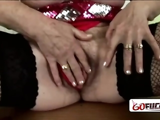 Horny Granny In Red Lingerie Gets Down And Dirty As She Gets Drilled
