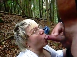 Granny In Woods Gets Facial With Glasses On