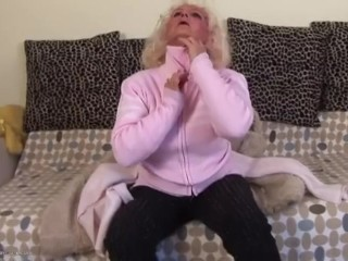 Mature Old, Blonde Granny Marianne Masturbating And Pissing.